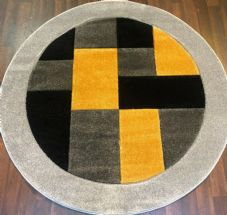 MODERN 140X140CM CIRCLE RUGS WOVEN BACK HAND CARVED BLOCKS RANGE SILVER/YELLOW